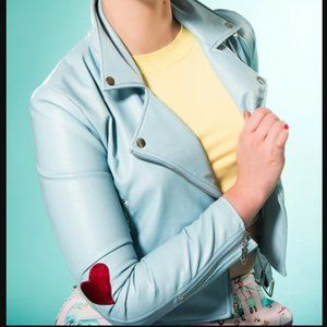 Sarsprilly Pastel Blue Biker Kawaii Moto Jacket